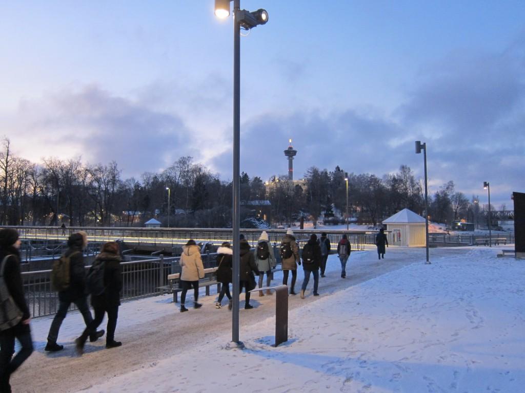 Vaihto-opiskelijat kaupunkikierroksella Tampereella